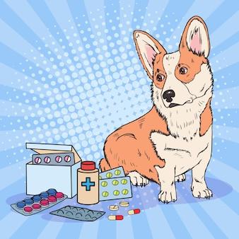 Perro corgi pop art con pastillas y tabletas de medicamentos