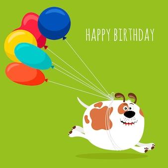Perro corriendo con globos de aire, tarjeta de felicitación de feliz cumpleaños