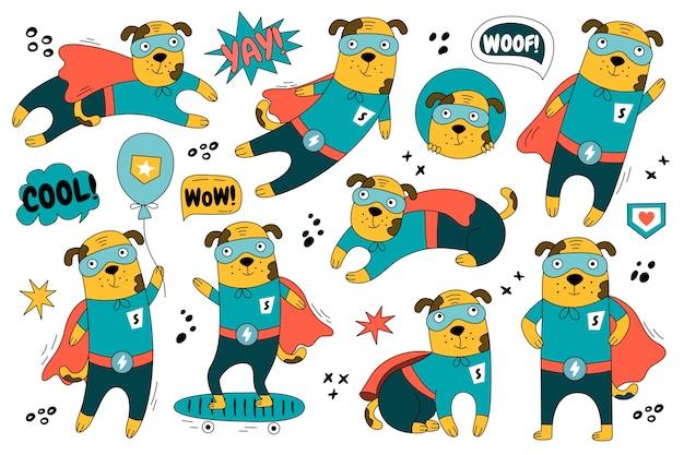 Perro dibujado a mano en traje de superman en diferentes poses. conjunto de lindo personaje de superhéroe