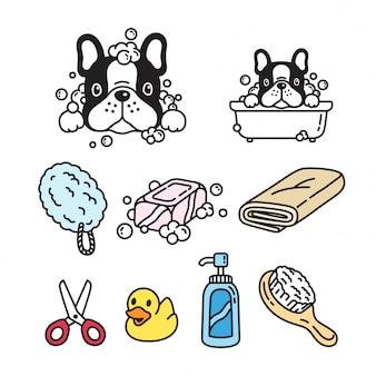 Perro de dibujos animados bulldog francés baño de ducha