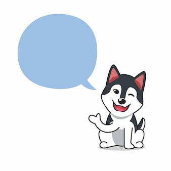 Perro de dibujos animados carácter husky siberiano con bocadillo