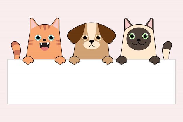 Perro de dibujos animados divertido y gatos sosteniendo una pancarta vacía