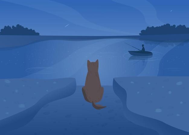 Perro de dibujos animados esperando dueño en la orilla por la noche