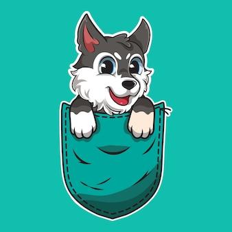 Perro de dibujos animados lindo en un bolsillo