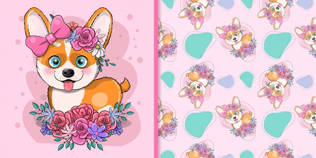 Perro de dibujos animados lindo corgi con flores
