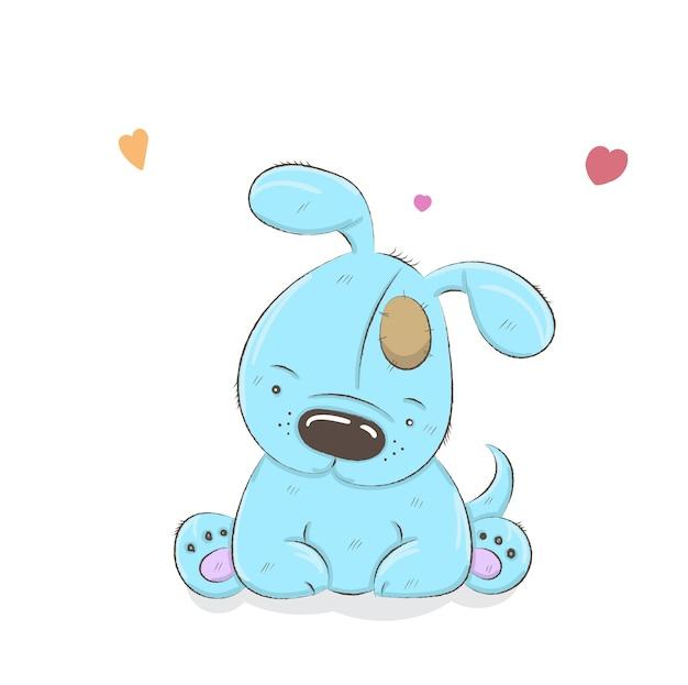 Perro de dibujos animados lindo dibujado a mano