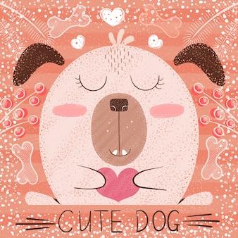 Perro de dibujos animados lindo
