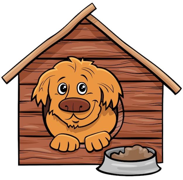 Perro de dibujos animados personaje animal cómico en caseta de perro