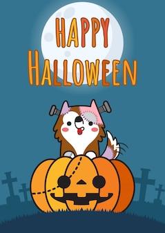 Perro disfrazado de halloween sentado en una calabaza gigante.
