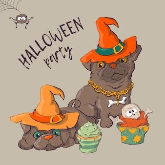 Perro con divertidos y elegantes sombreros de halloween.