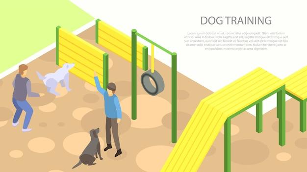 Perro entrenamiento concepto banner, estilo isométrico