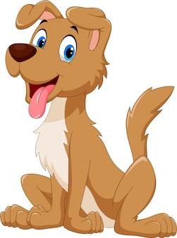 Perro feliz de dibujos animados sentado