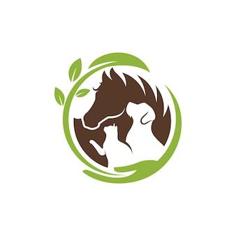 Perro gato y caballo logo plantilla veterinaria