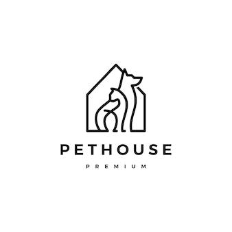 Perro gato casa de mascotas casa logo vector línea arte contorno