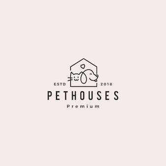 Perro gato mascota casa tienda logo