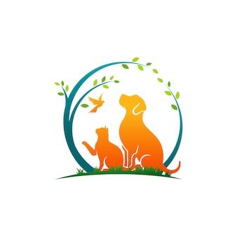 Perro gato y pájaro logo plantilla veterinaria