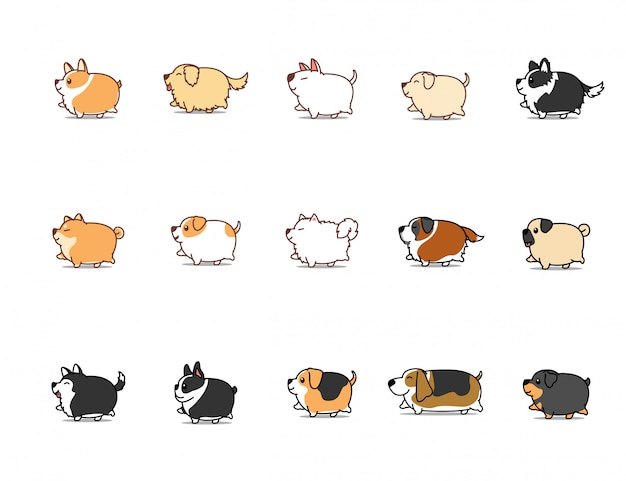Perro gordo caminando conjunto de iconos de dibujos animados