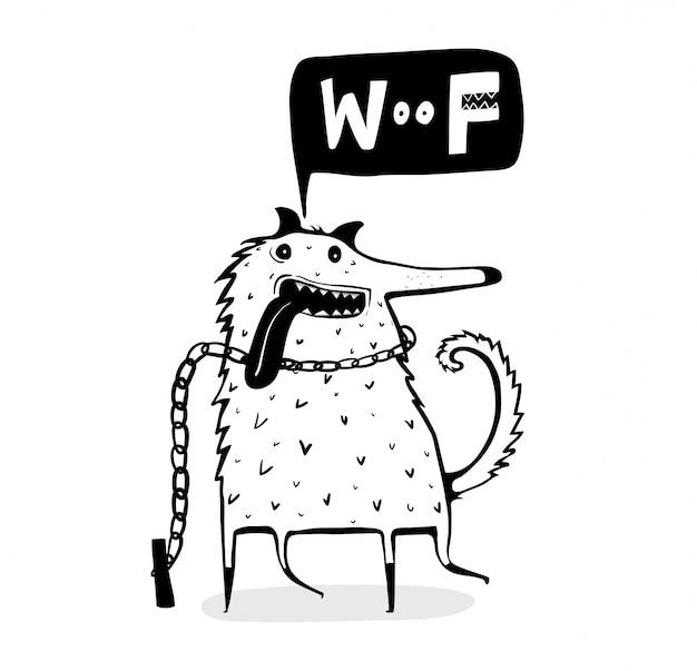 Perro gracioso contorno dibujos animados ladrando