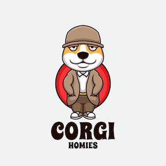 Perro homies cartoon gangster creative cartoon logo ilustración mascota diseño