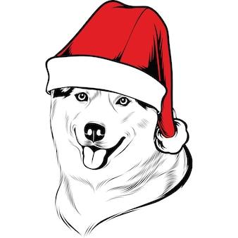 Perro husky con gorro de papá noel para navidad