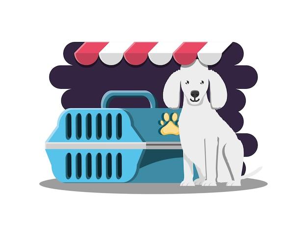 Perro con icono de jaula