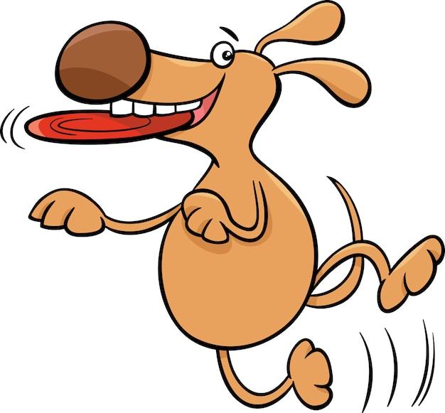 Perro con la ilustración de dibujos animados de frisbee
