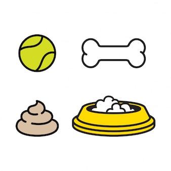 Perro juguete icono comida cuenco hueso