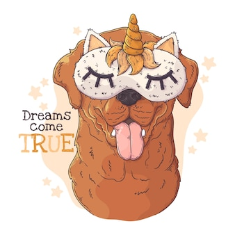 Perro labrador retriever dibujado a mano con antifaz para dormir