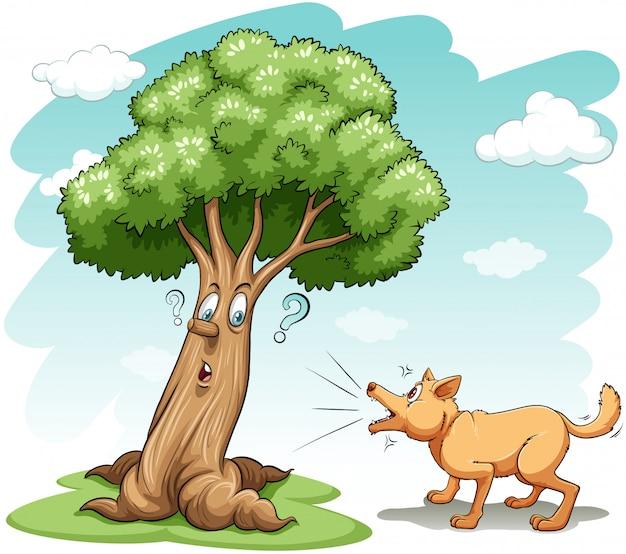 Perro ladrando el árbol