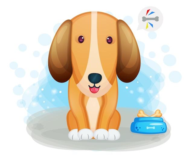 Perro lindo con burbuja de chat