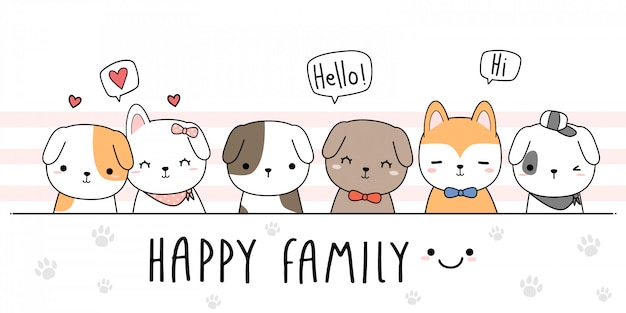 Perro lindo cachorro familia de dibujos animados