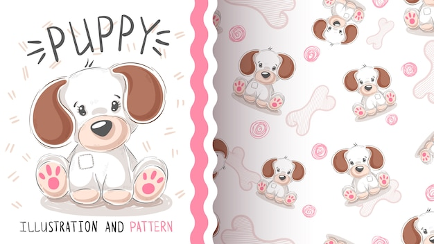 Perro lindo, cachorro - patrón transparente
