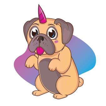 Perro lindo con cuernos de unicornio rosa