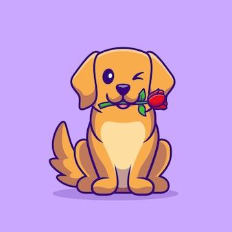 Perro lindo con ilustración de dibujos animados de flor rosa