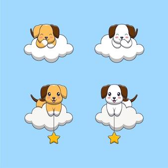 Perro lindo en la ilustración de dibujos animados de nubes