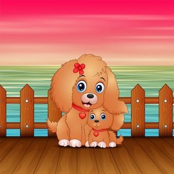 Perro madre de dibujos animados agradable con su cachorro en el puerto