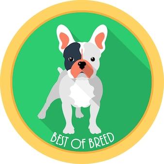 Perro mejor de raza icono de medalla diseño plano