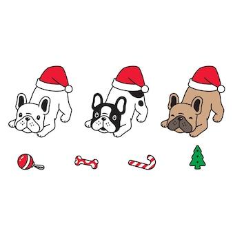 Perro navidad santa claus sombrero cachorro personaje de dibujos animados