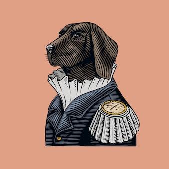 Perro oficial o militar con el uniforme antiguo.
