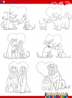 Perro parejas de enamorados dibujos animados para colorear página del libro
