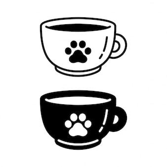Perro pata gato huella taza de café personaje icono de dibujos animados