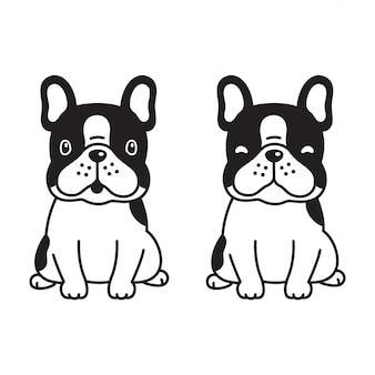 Perro pata vector bulldog francés de dibujos animados