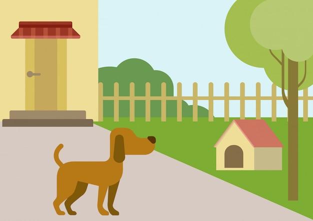 Perro en patio con caricatura plana de caseta de perro