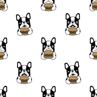 Perro sin patrón bulldog francés hamburguesa ilustración de dibujos animados