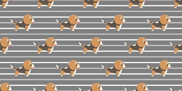 Perro de patrones sin fisuras beagles en blanco.