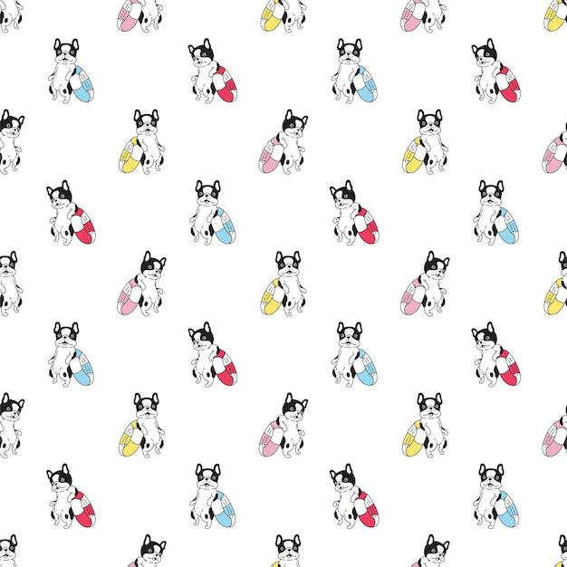 Perro de patrones sin fisuras bulldog francés anillo de natación personaje de dibujos animados mascota cachorro doodle