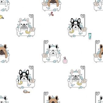 Perro de patrones sin fisuras bulldog francés baño de ducha cartoon