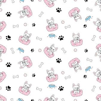 Perro de patrones sin fisuras bulldog francés cachorro cama cartoon