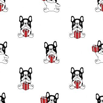 Perro de patrones sin fisuras bulldog francés caja de regalo de dibujos animados