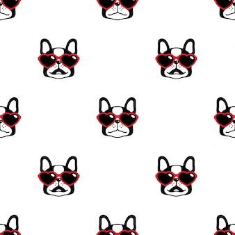 Perro de patrones sin fisuras bulldog francés corazón gafas de sol de dibujos animados